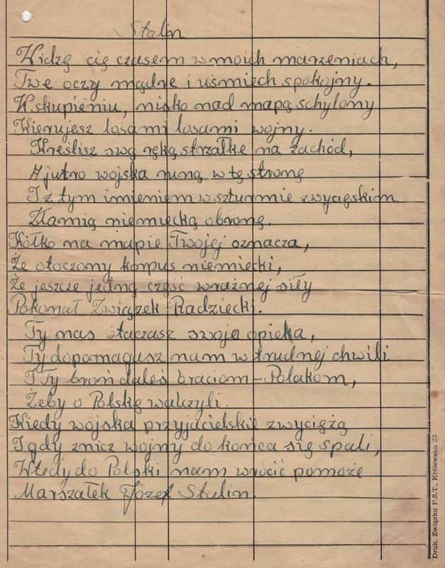 Wiersz O Stalinie Archiwum Państwowe W Kaliszu